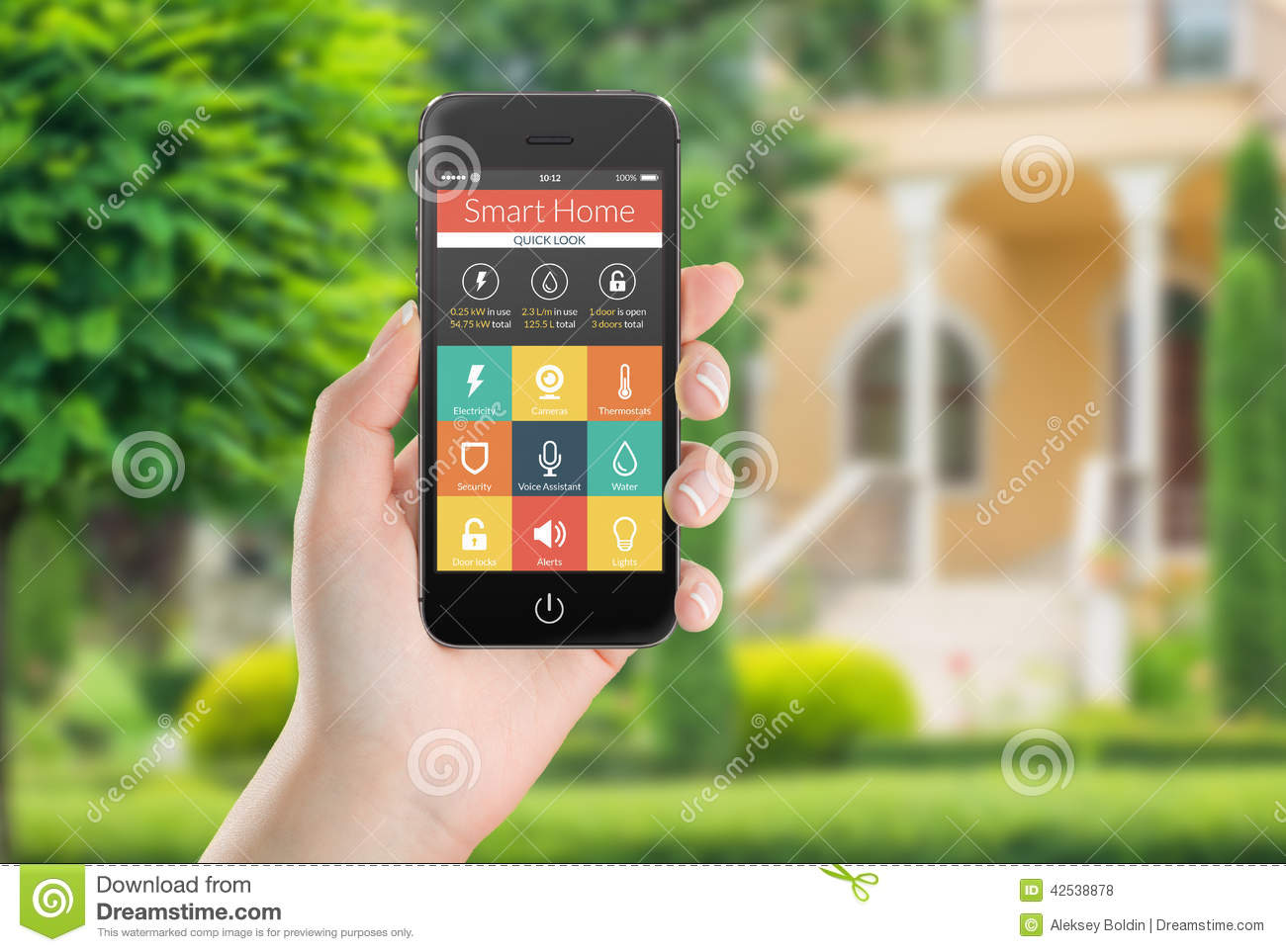 Black Mobile Smart Phone With Smart Home Application Icons