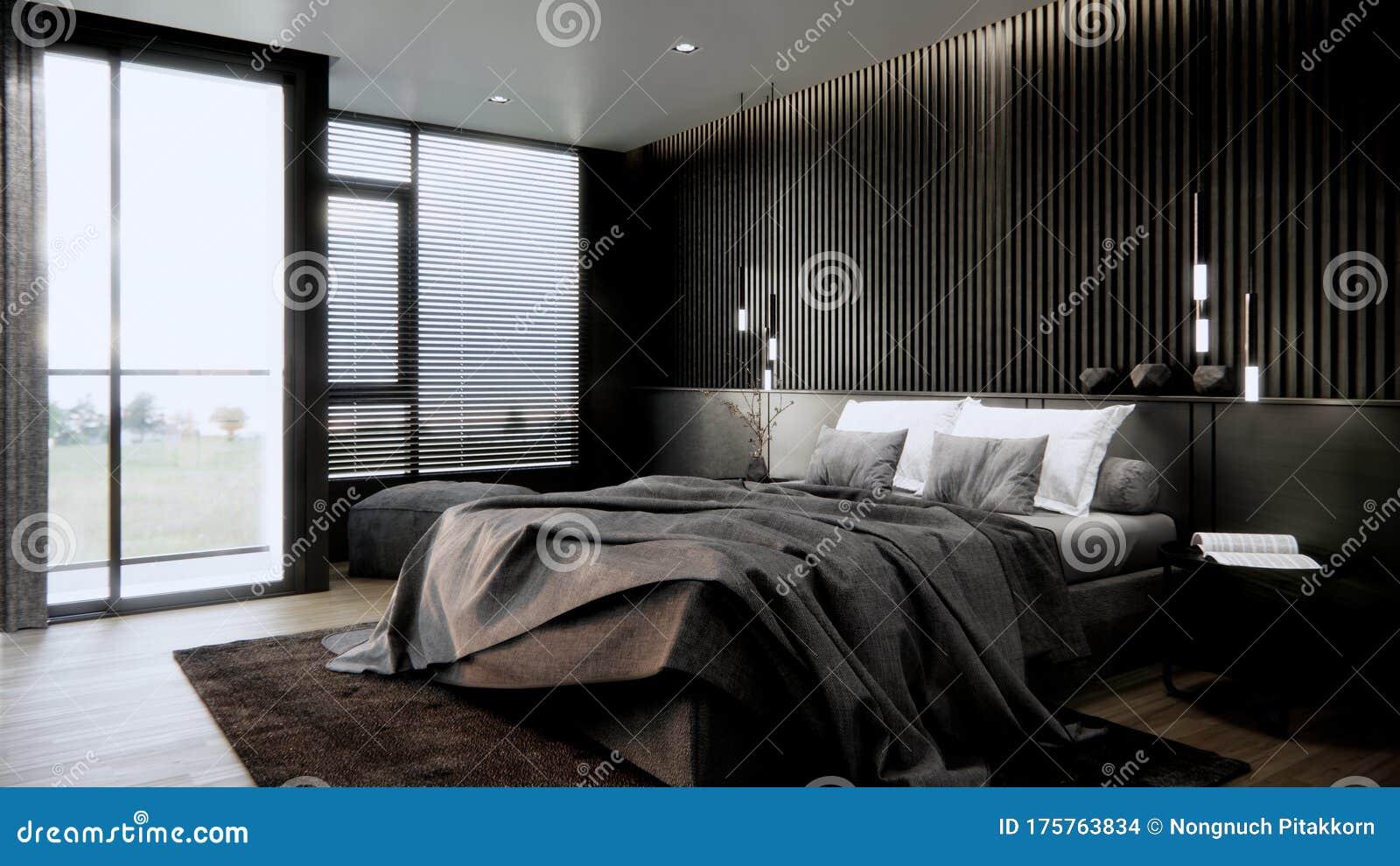 Black Modern Bedroom Interior Design With Furniture 3d Rendering Background Stock Illustration Illustration Of Interior Apartment 175763834