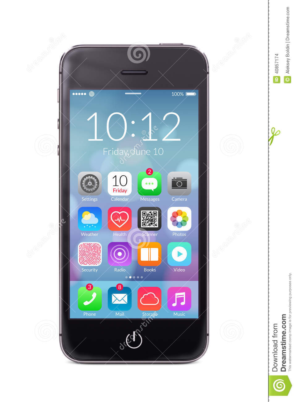 black modern smartphone with application icons on the