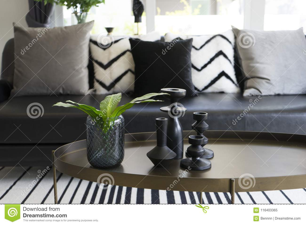 Picture of: Modern Vase And Green Leaf On Center Table With Black And White Pillows On Sofa Stock Image Image Of Elegant Estate 116403365