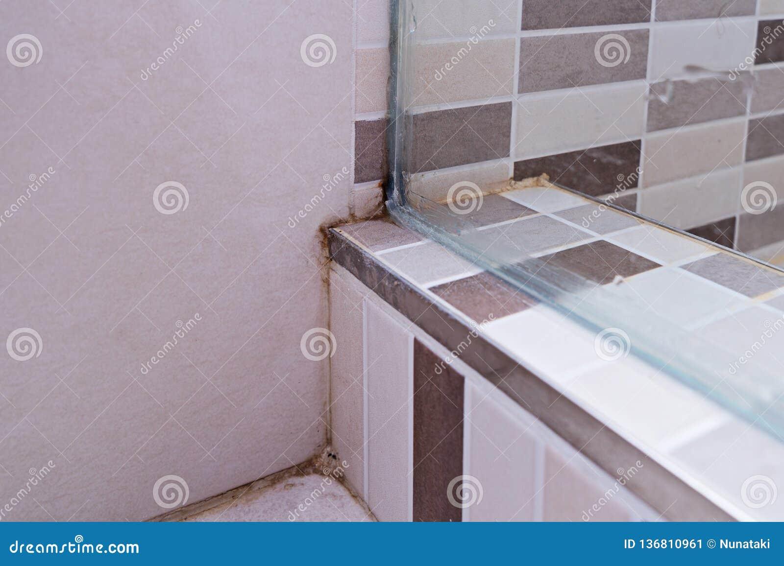 Unhygienic Dirty Mildew In Bathroom On Ceramic Floor Stock Image