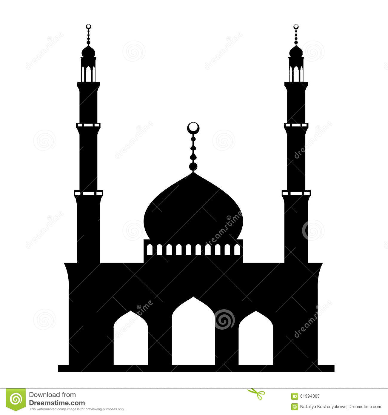 Black Mosque On White Stock Vector - Image: 61394303
