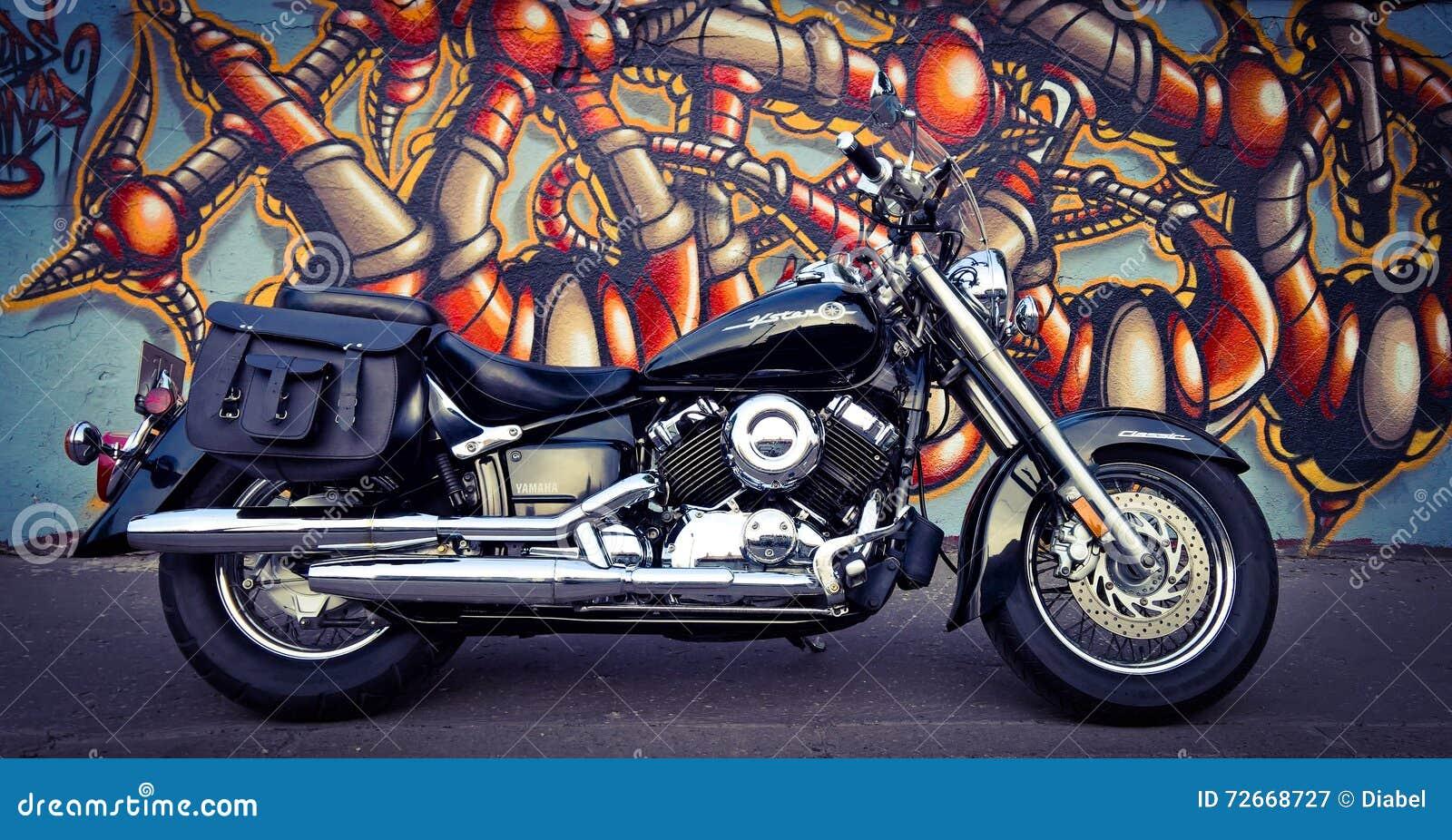 Graffiti wall black - Black City Cracow Graffiti Motorcycle Wall