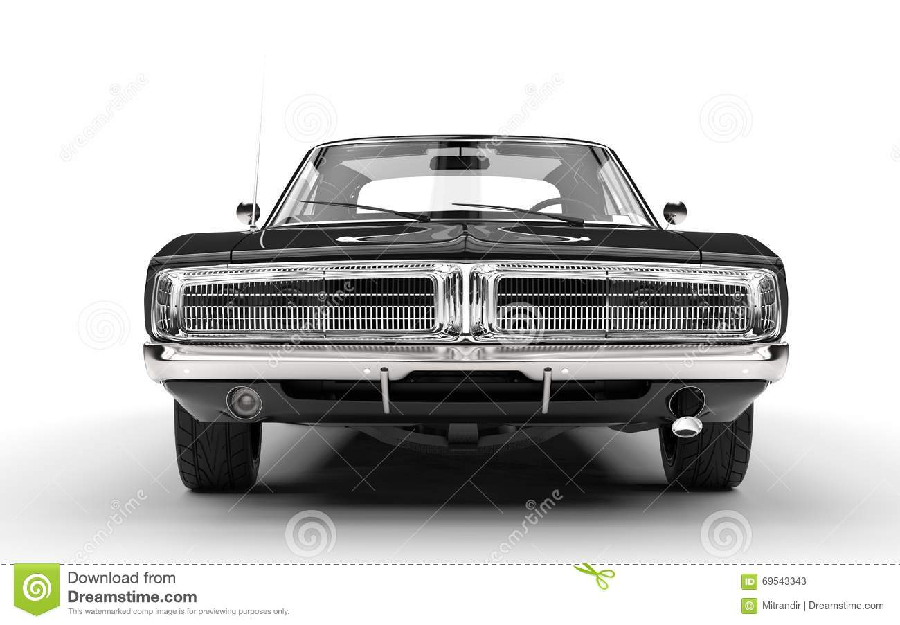 Black Muscle Car - Front Grille View Stock Image - Image ...