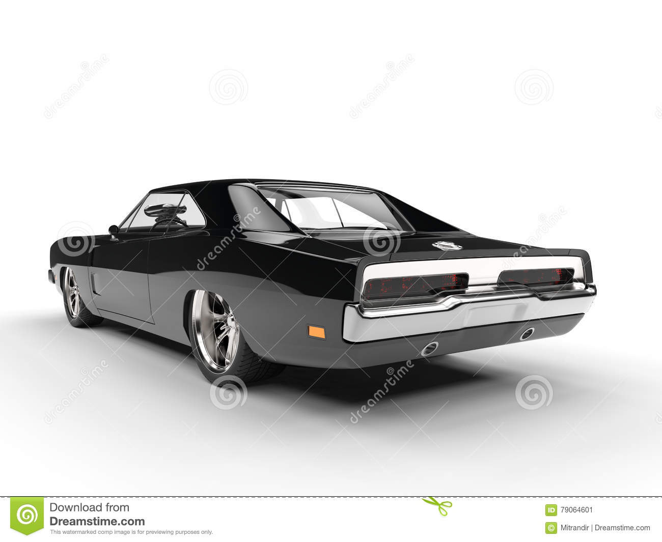 Black Muscle Car Rear View Stock Illustration Illustration Of