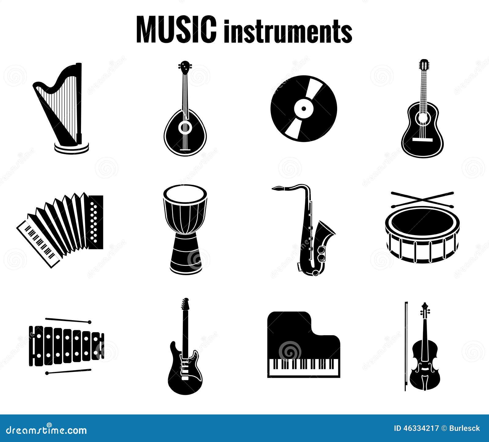 black music instrument icons on white background stock