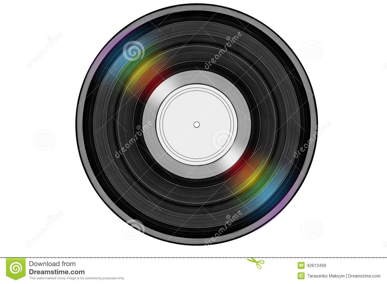 Black music record with colored rainbow reflection light