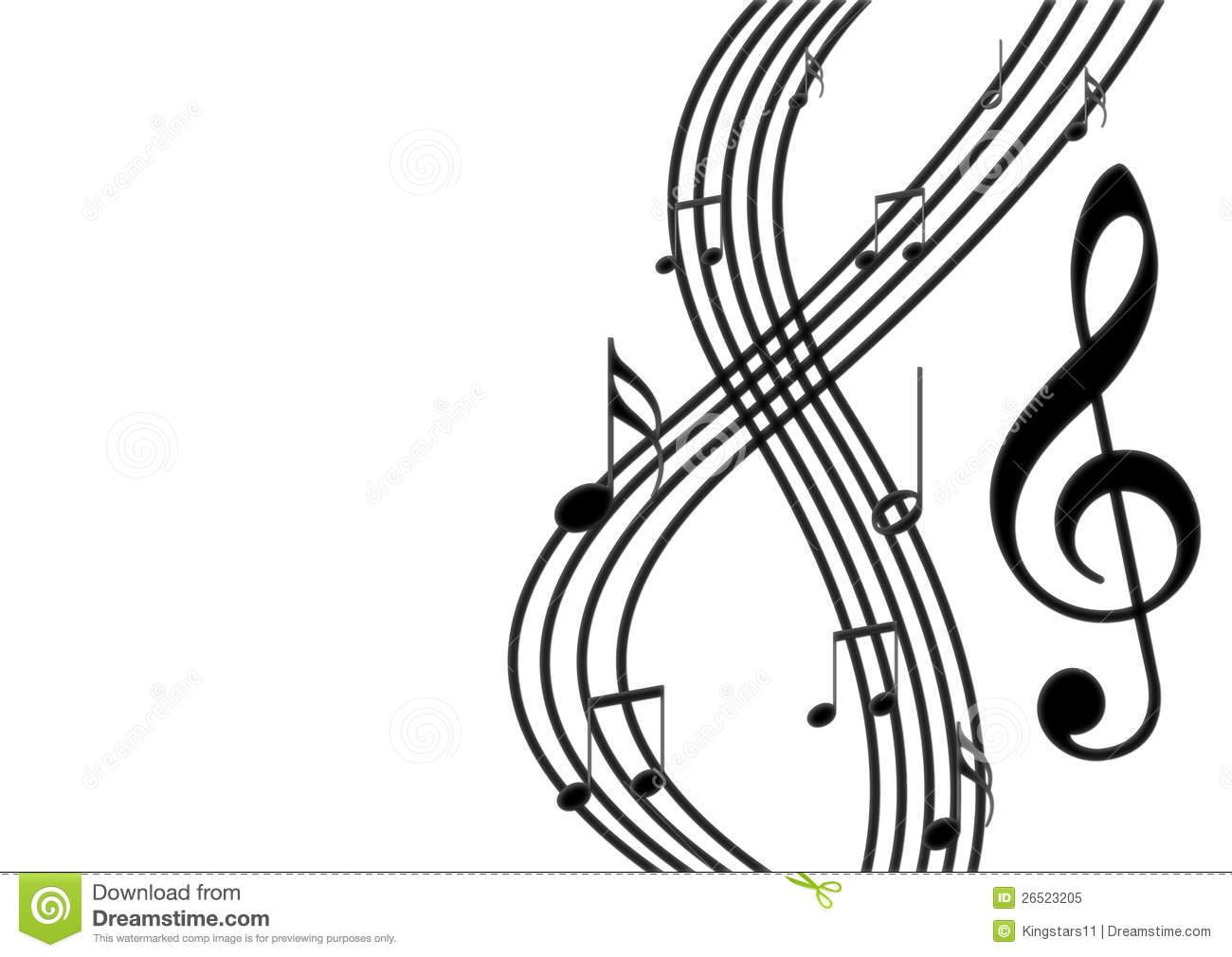Black Musical Notes On Stave Royalty Free Stock Photo - Image ...