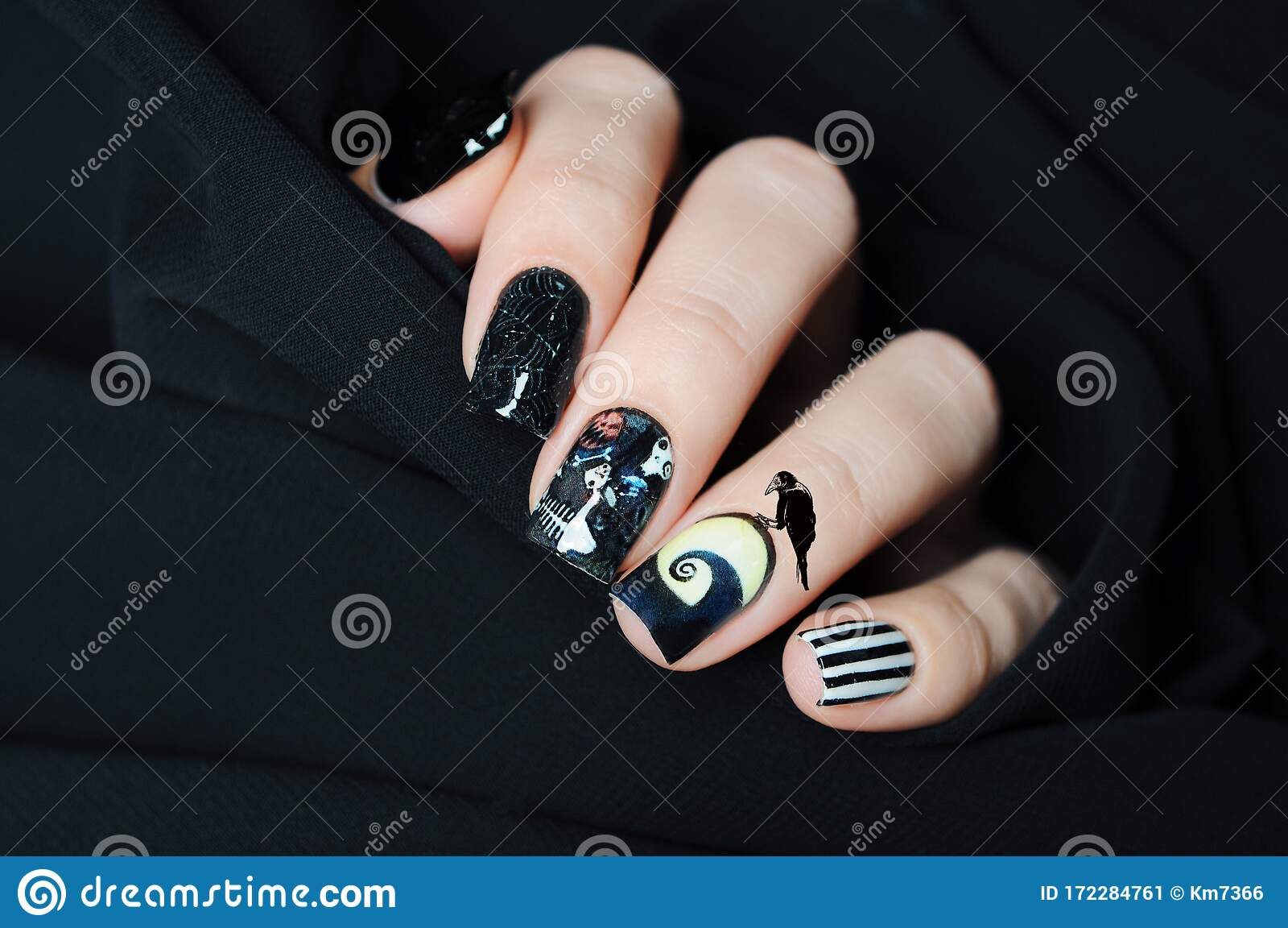 Black Nail Art Halloween Manicure In The Style Of ...