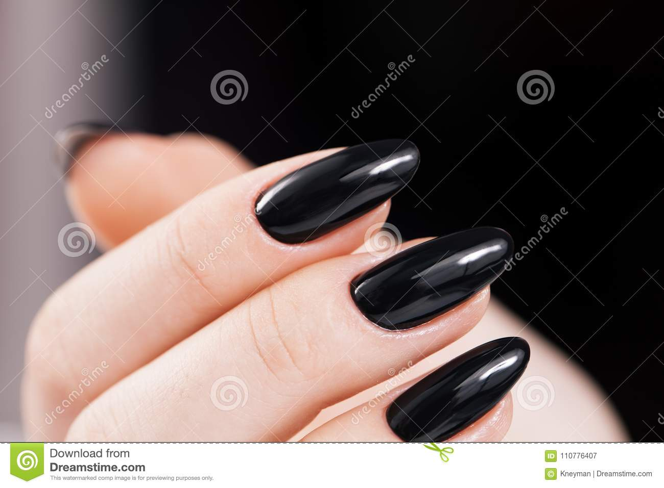 Black Nails Design Close-up. Stock Image - Image of gloss, manicured ...
