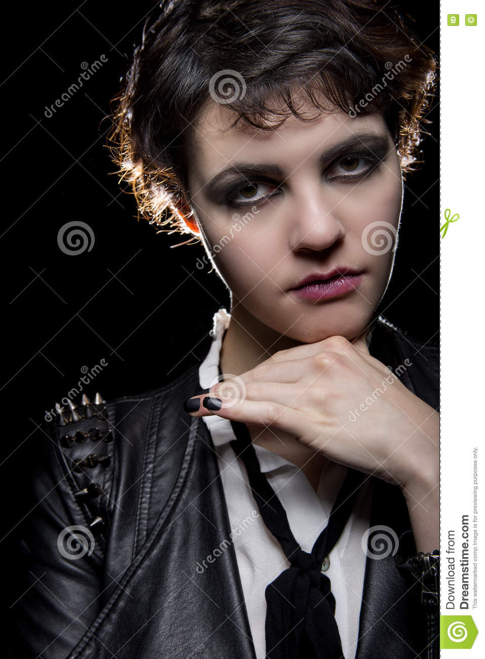 Black Nails on Goth Model stock image. Image of leather - 78764541
