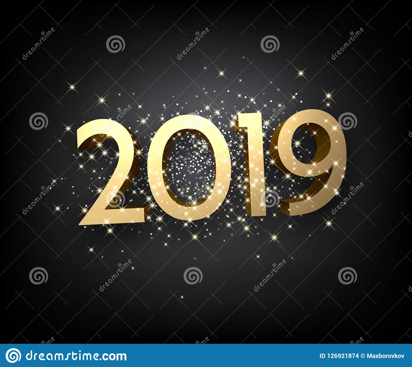 black 2019 new year background with shiny gold figures christmas greeting card or poster template vector illustration