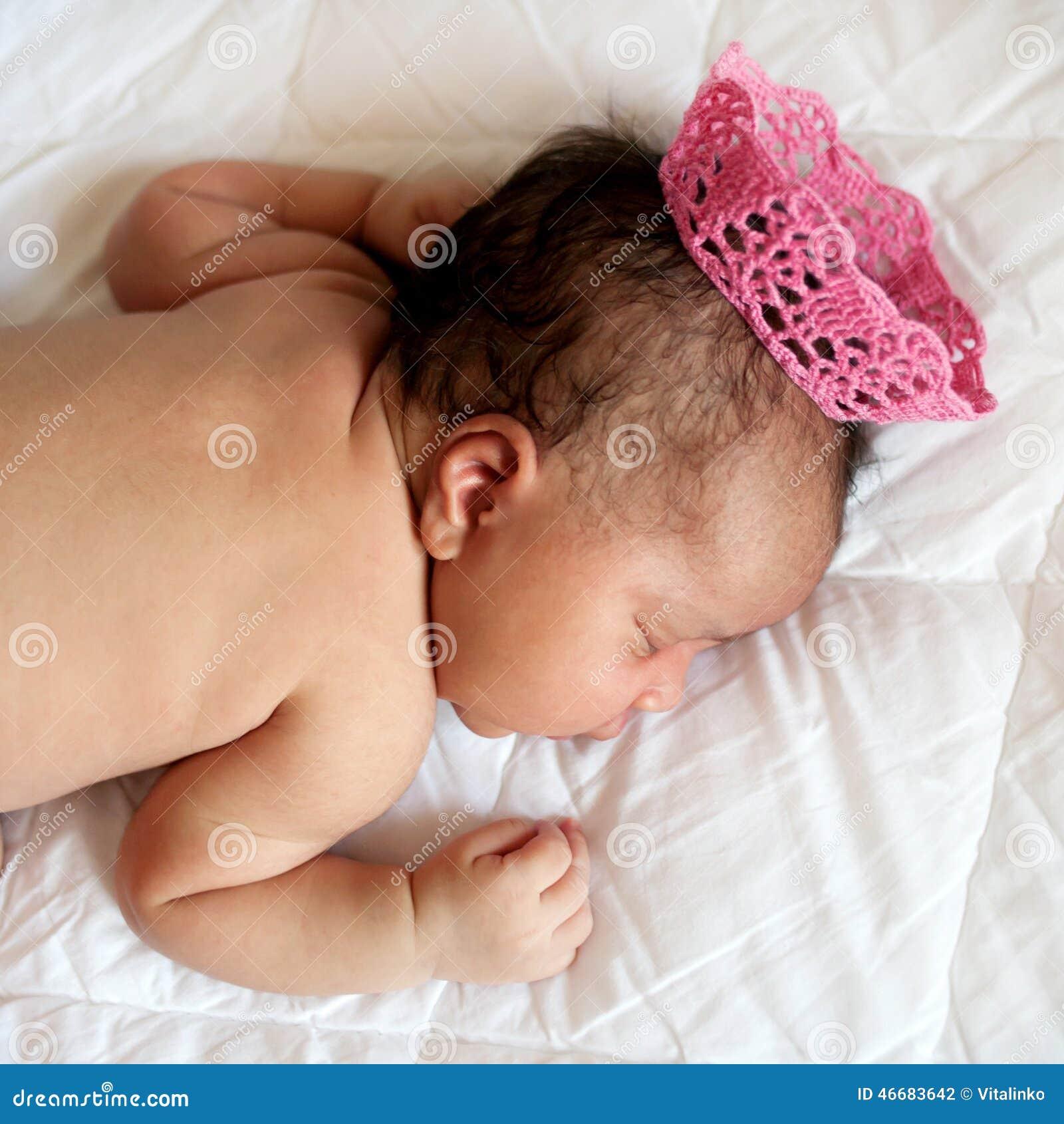 black newborn baby princess sleeping stock photo image