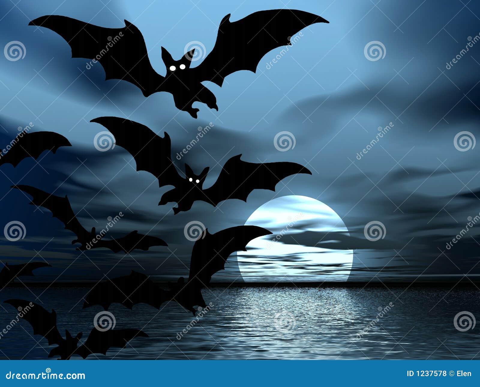 black night moon and bats royalty free stock photos