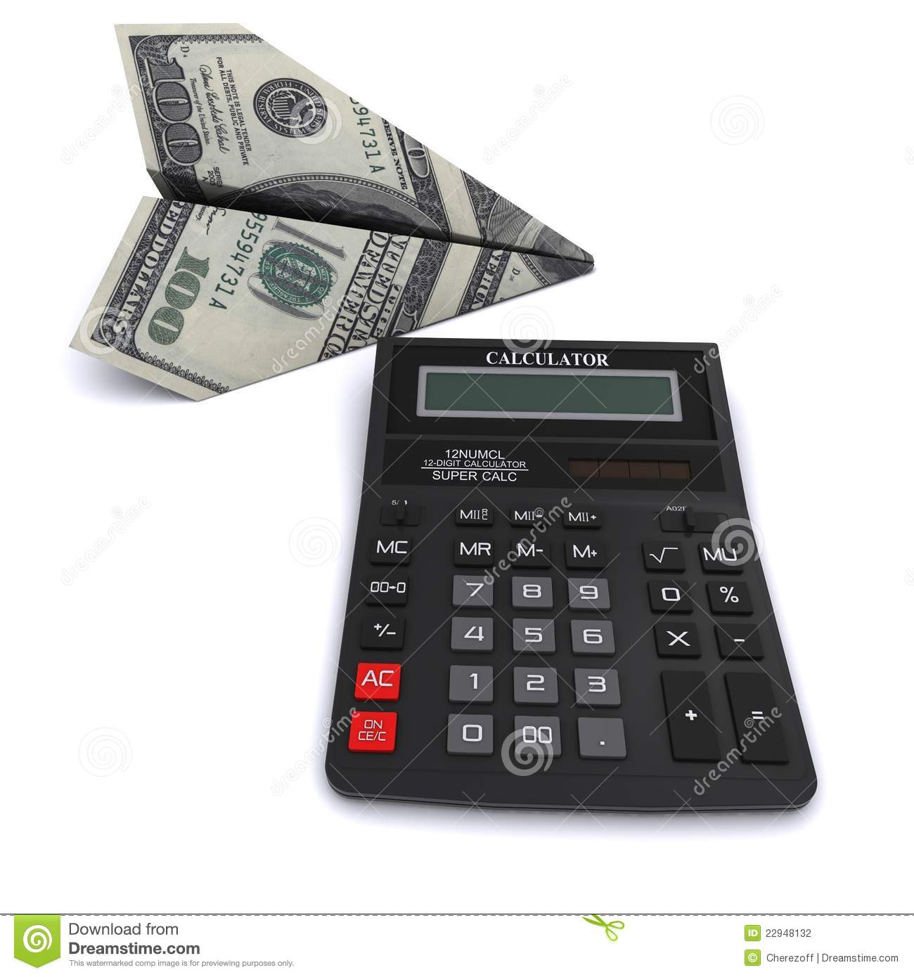 Black Office Calculator And Paper Airplane Stock