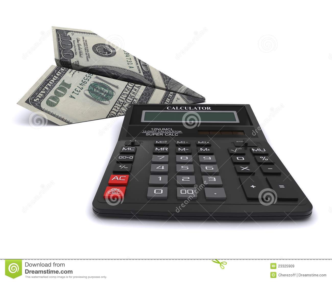 Black Office Calculator And Paper Airplane Royalty Free