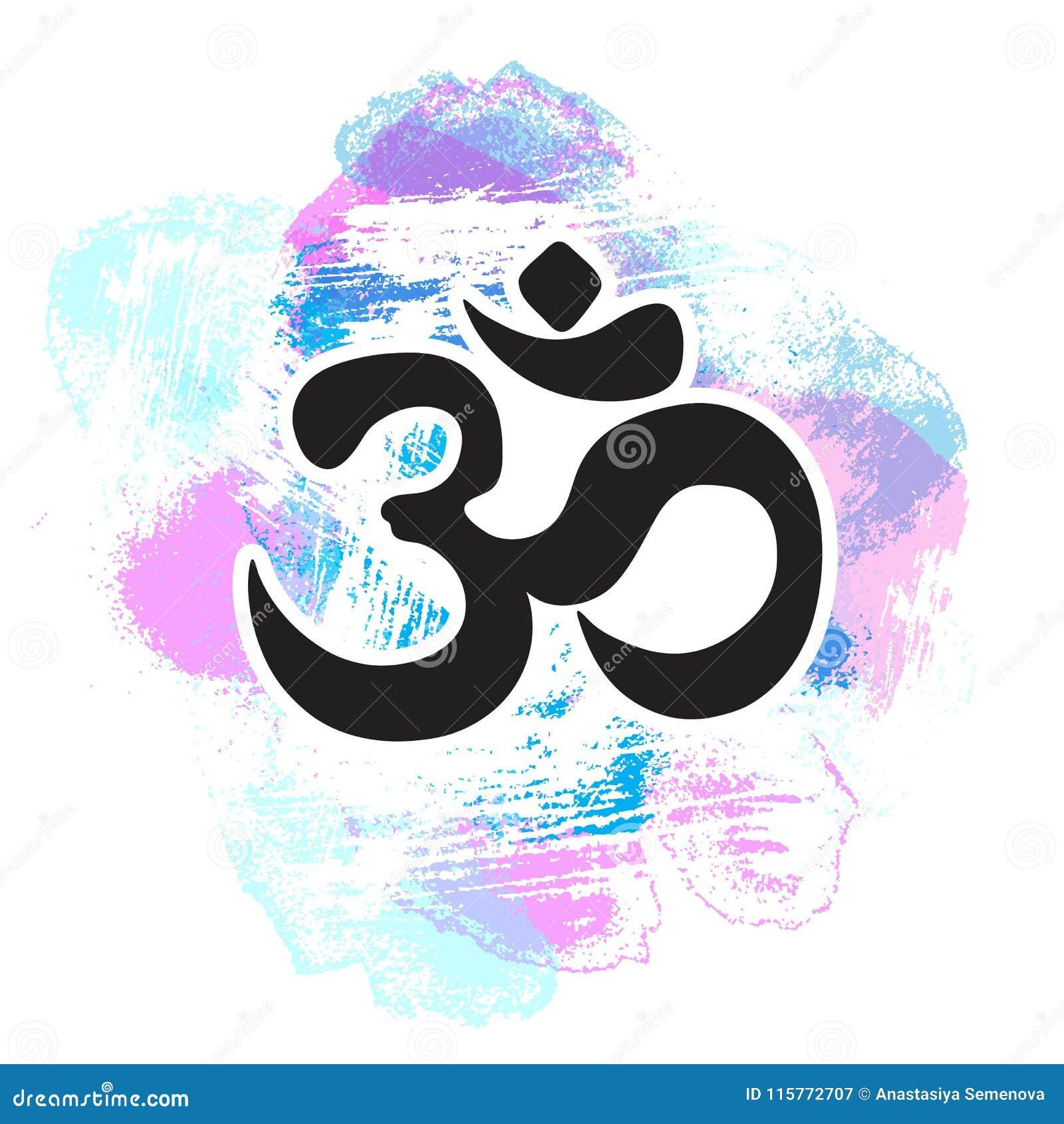 Black Ohm Symbol On Hand Drawn Colorful Pastel Background Indian