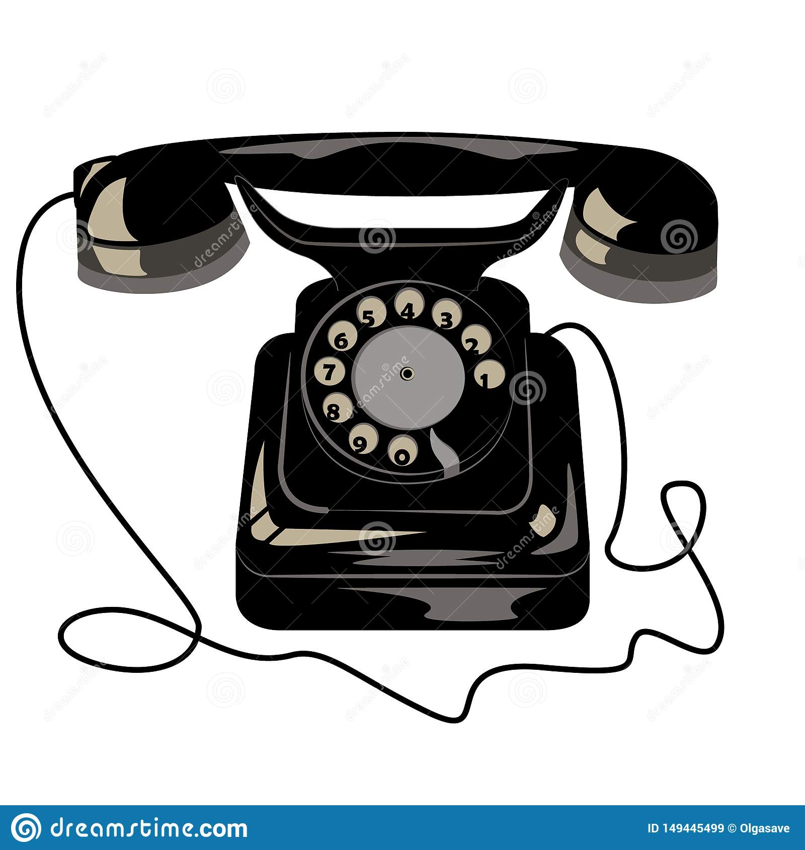 Black old retro phone with dial disk and wire.