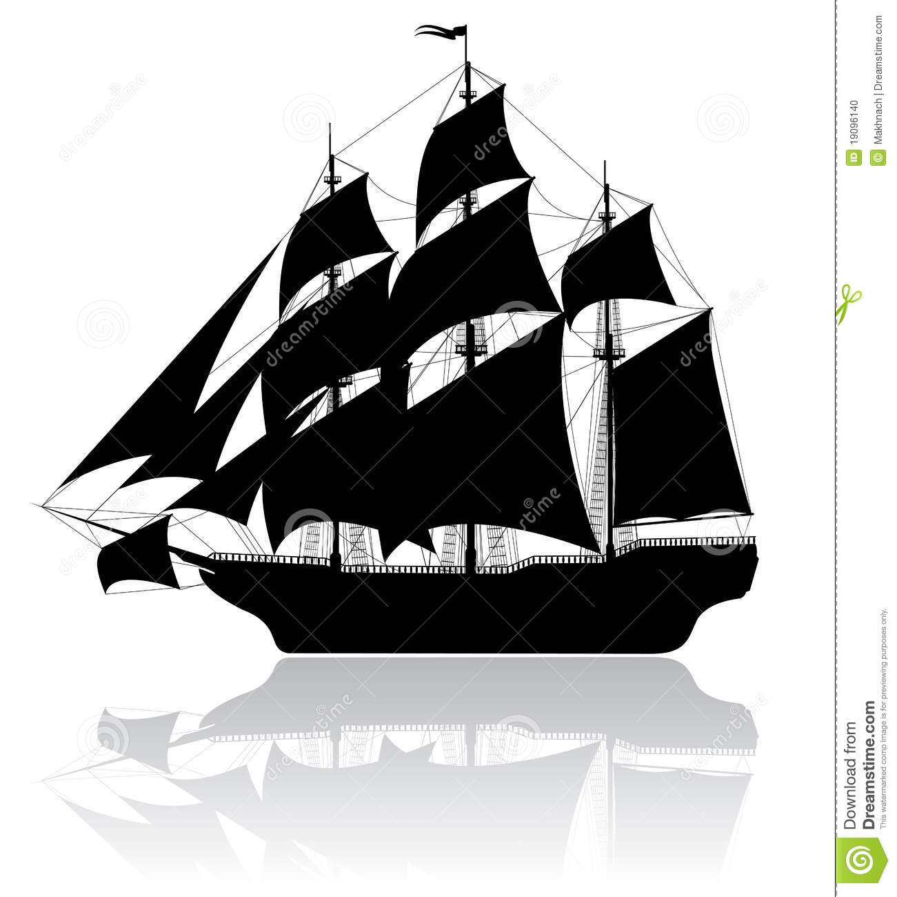 Black old ship isolated on white background. Additional vector format ...