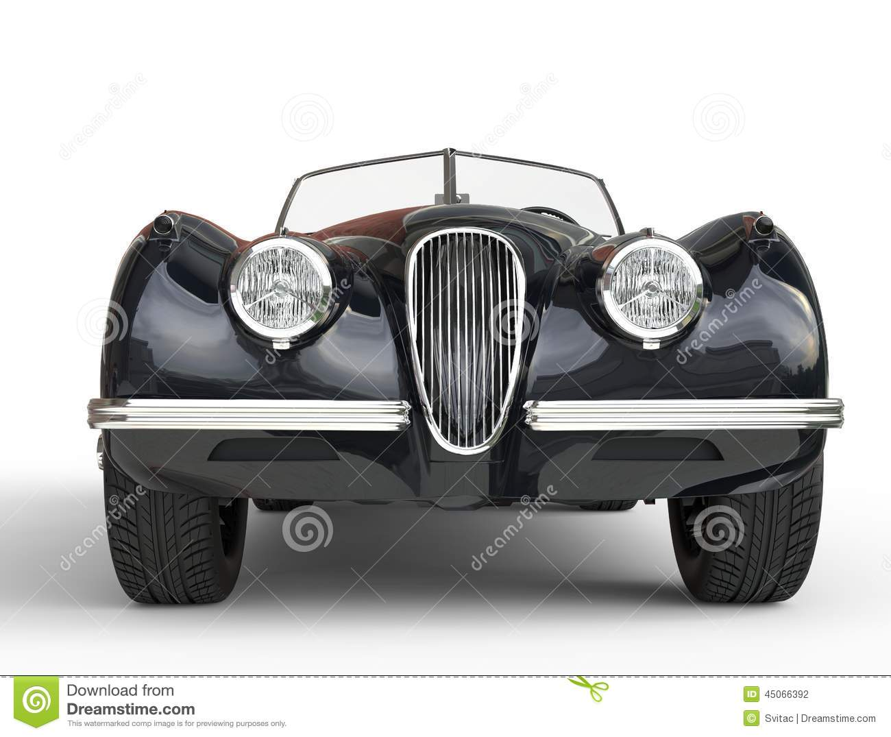Black Old Timer Car Shot On White Background Front View Stock