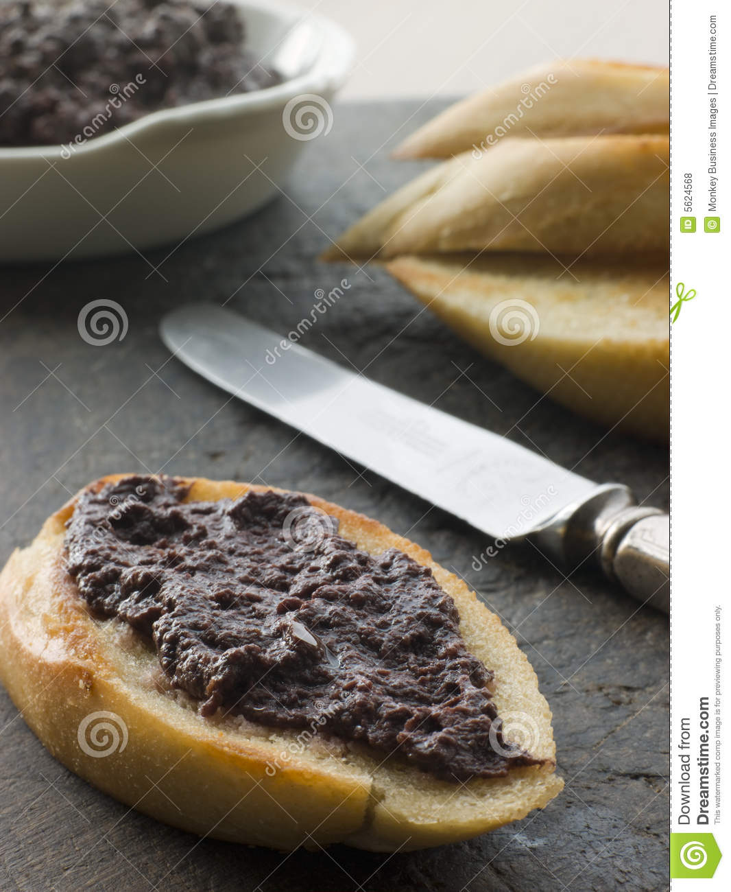 Black Olive Tapenade with toasted baguette