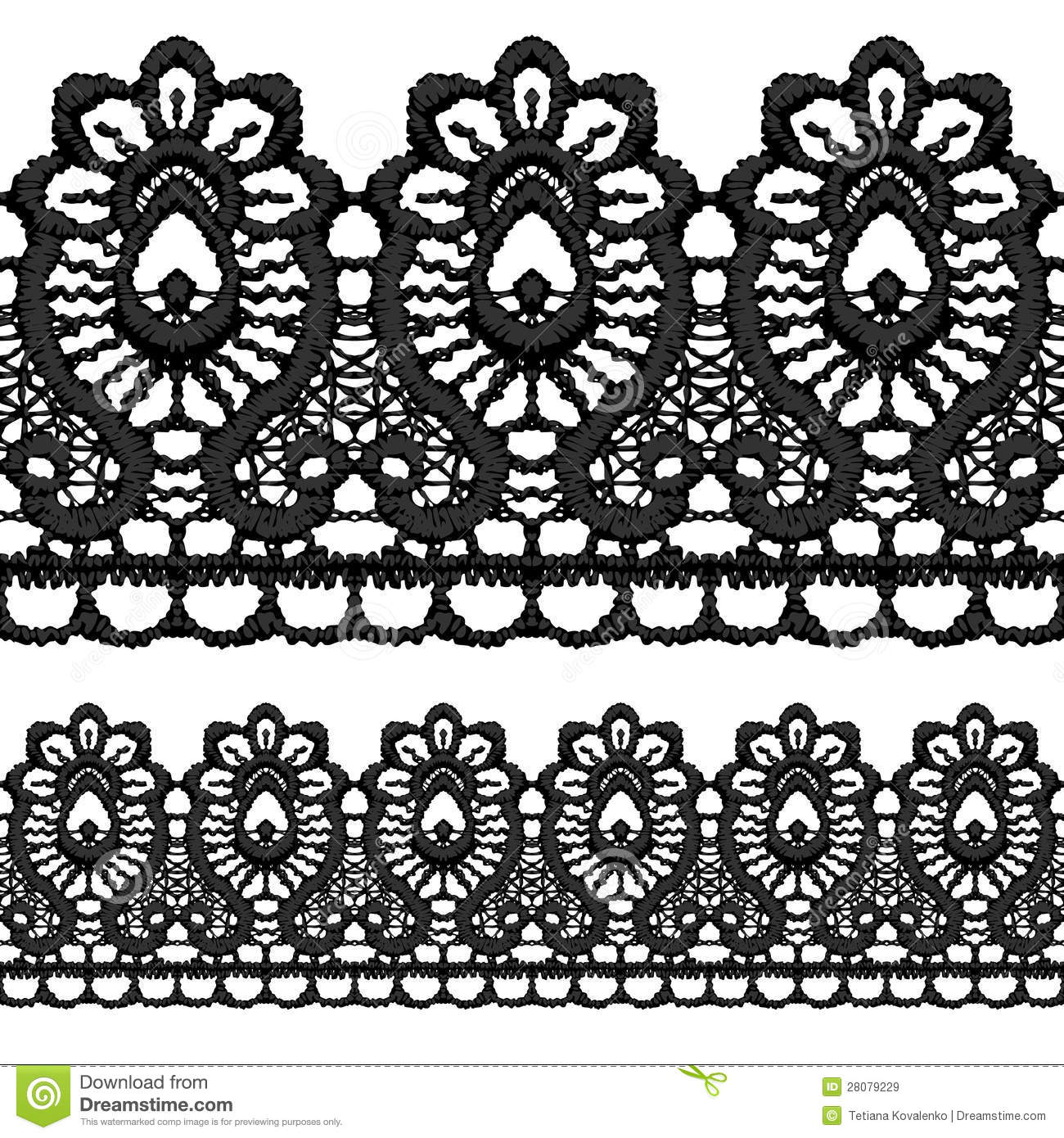 Black Openwork Lace Seamless Border. Royalty Free Stock Images - Image ... Quail Black And White Clipart