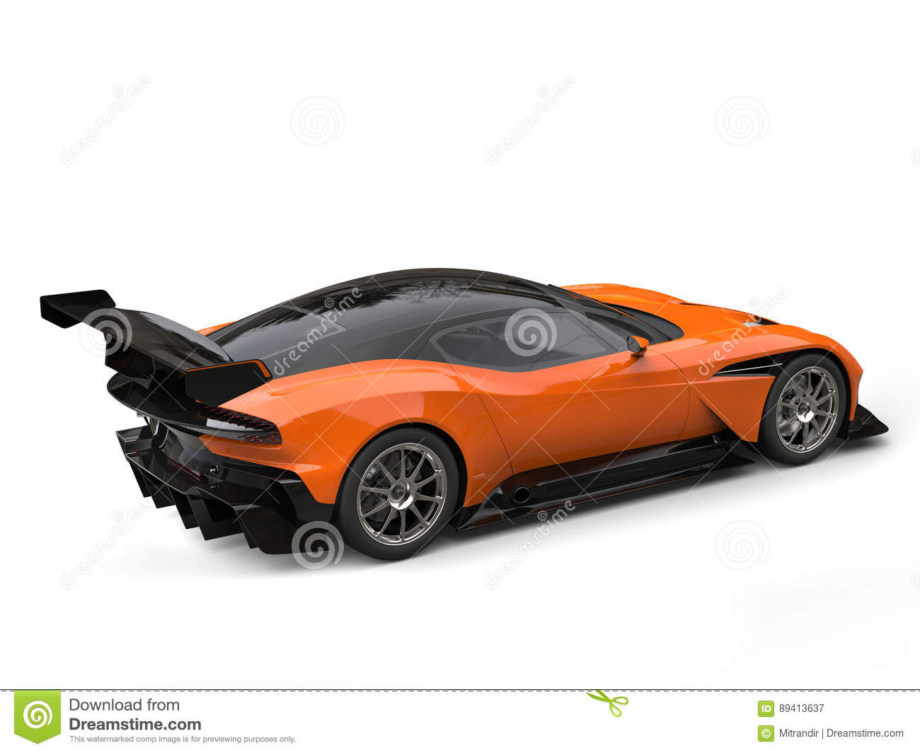 Black And Orange Modern Sports Super Car Rear Wing Side View