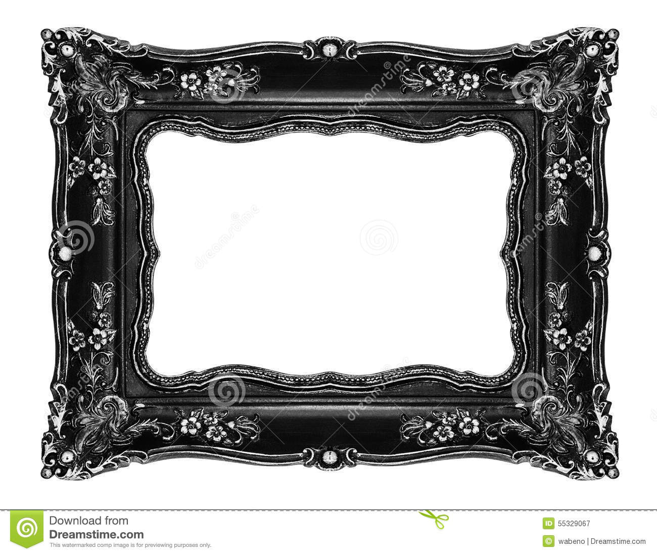 Black Ornate Frame On White Stock Image Image Of Retro