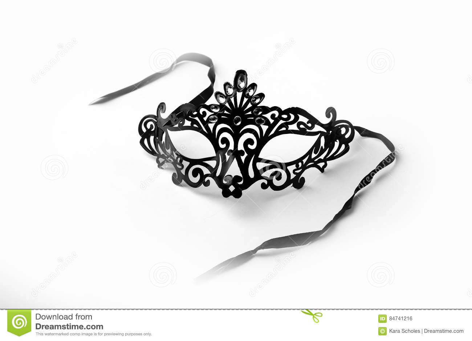 Black Ornate Masquerade Mask on White Background