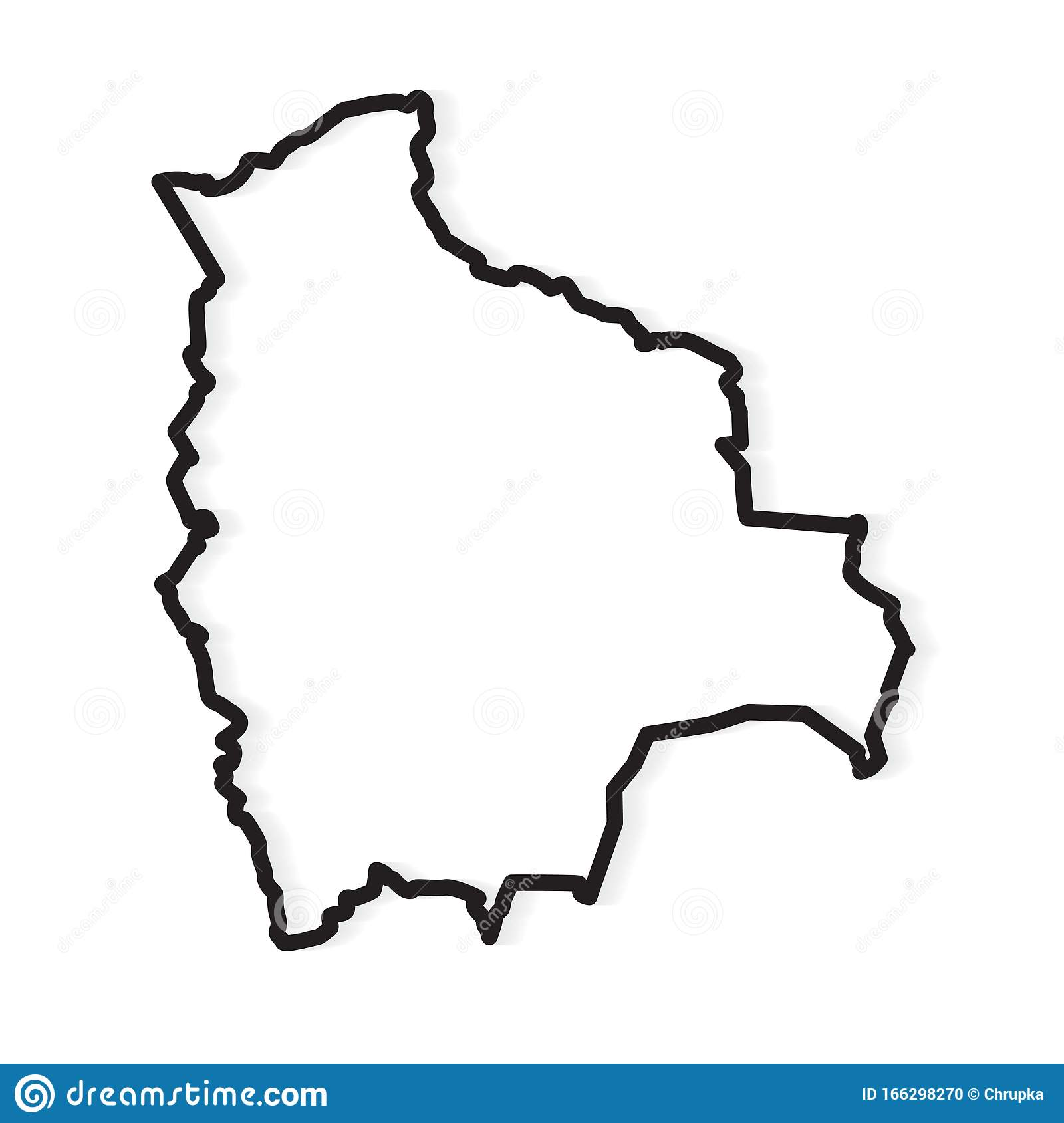 Picture of: Black Outline Of Bolivia Map Stock Vector Illustration Of Borders Spanish 166298270