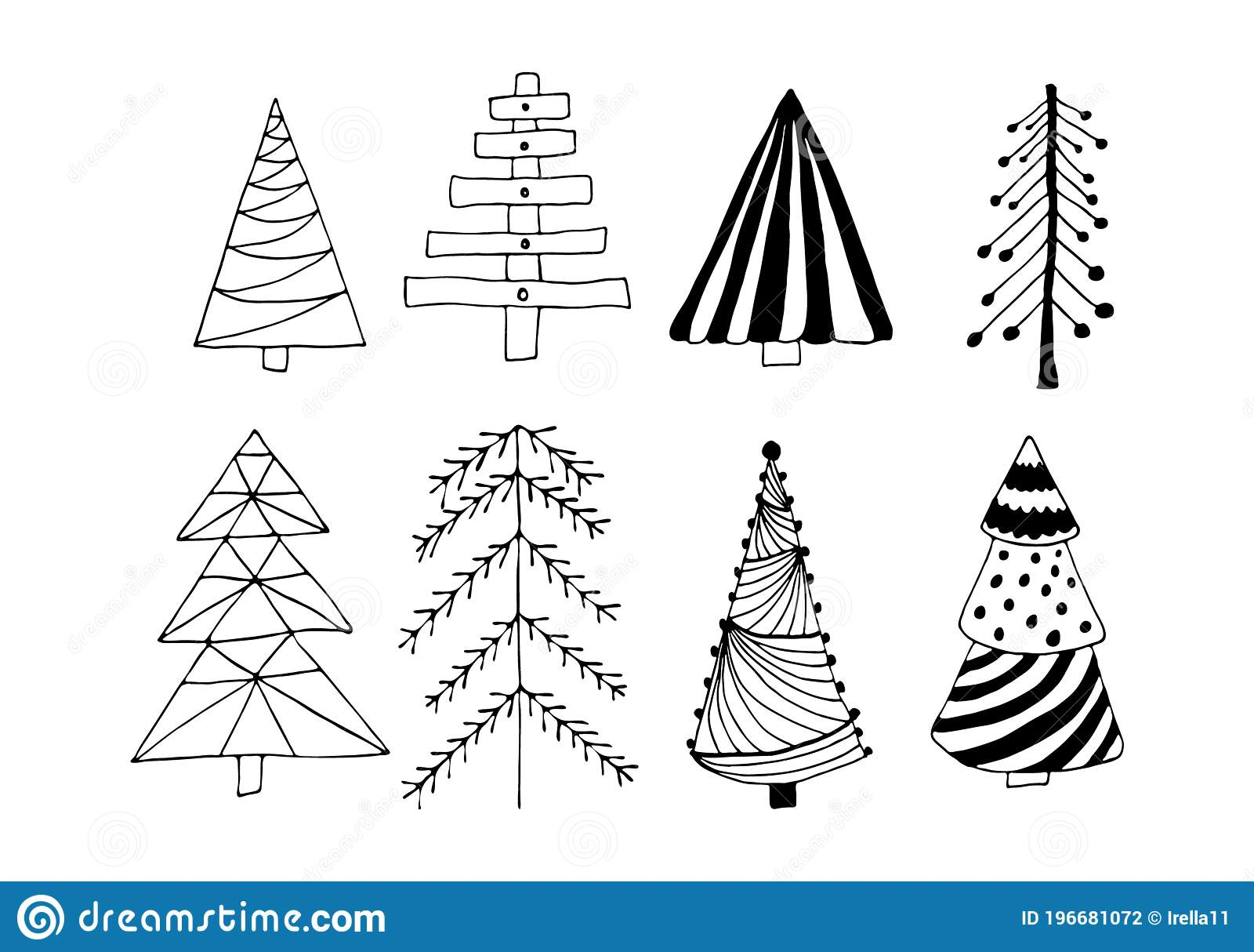 Black Outline Christmas Tree Set Isolated On White Background Winter Holidays Rustic Decor Doodles Vector Illustration For Cards Stock Vector Illustration Of Object Forest 196681072
