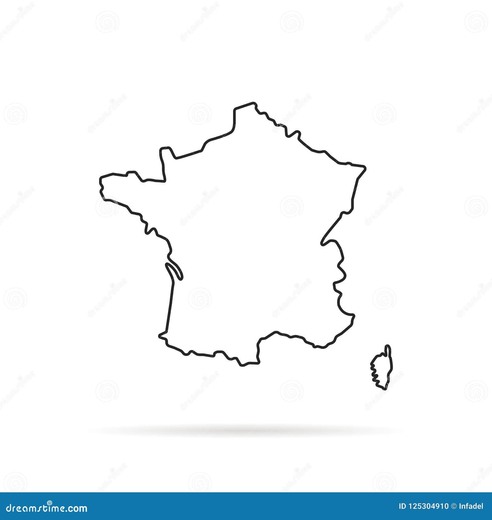 Black Outline Hand Drawn Map Of France Stock Vector   Illustration