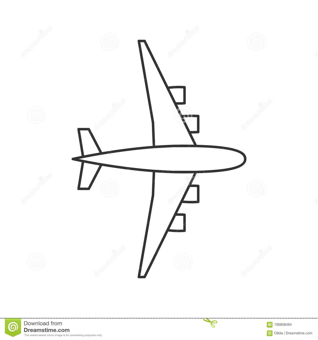 Black Outline Isolated Airplane On White Background. Line ...