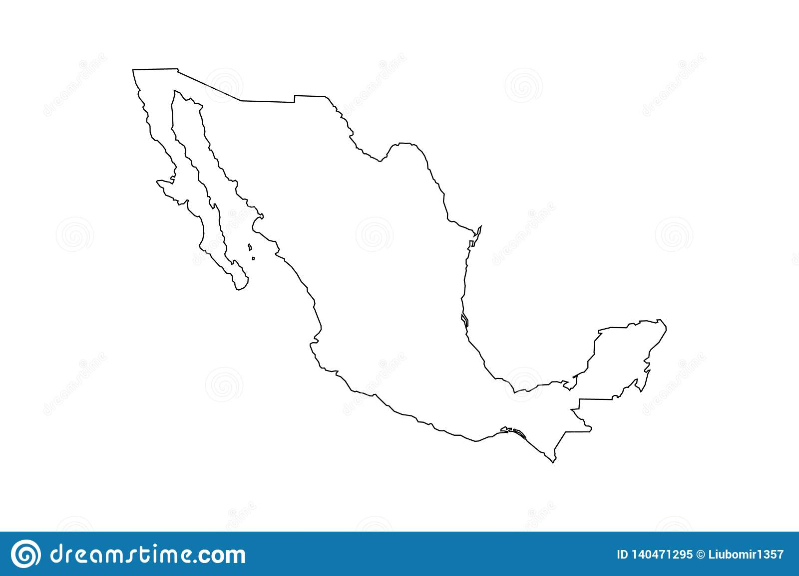 Black Outline Of Mexico Map Stock Vector - Illustration of