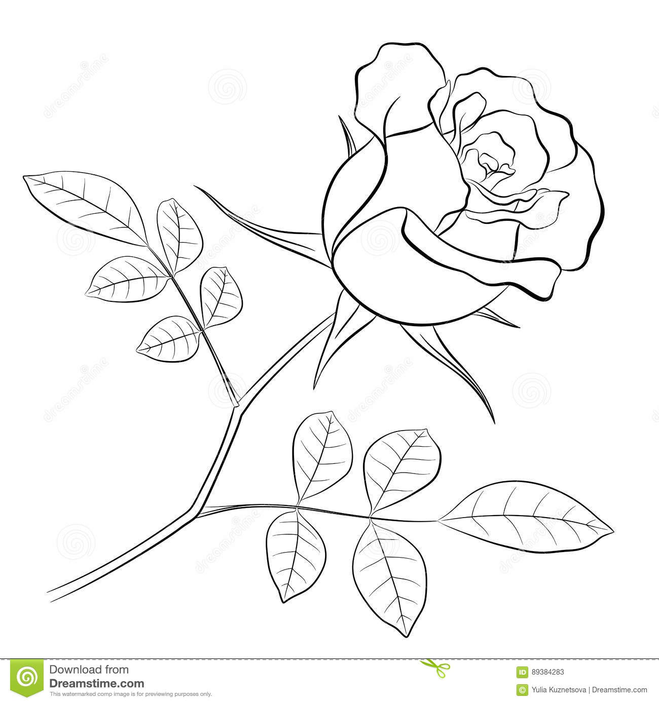 Black Outline Of A Rose Flower With A Stem And Two Leaves Stock
