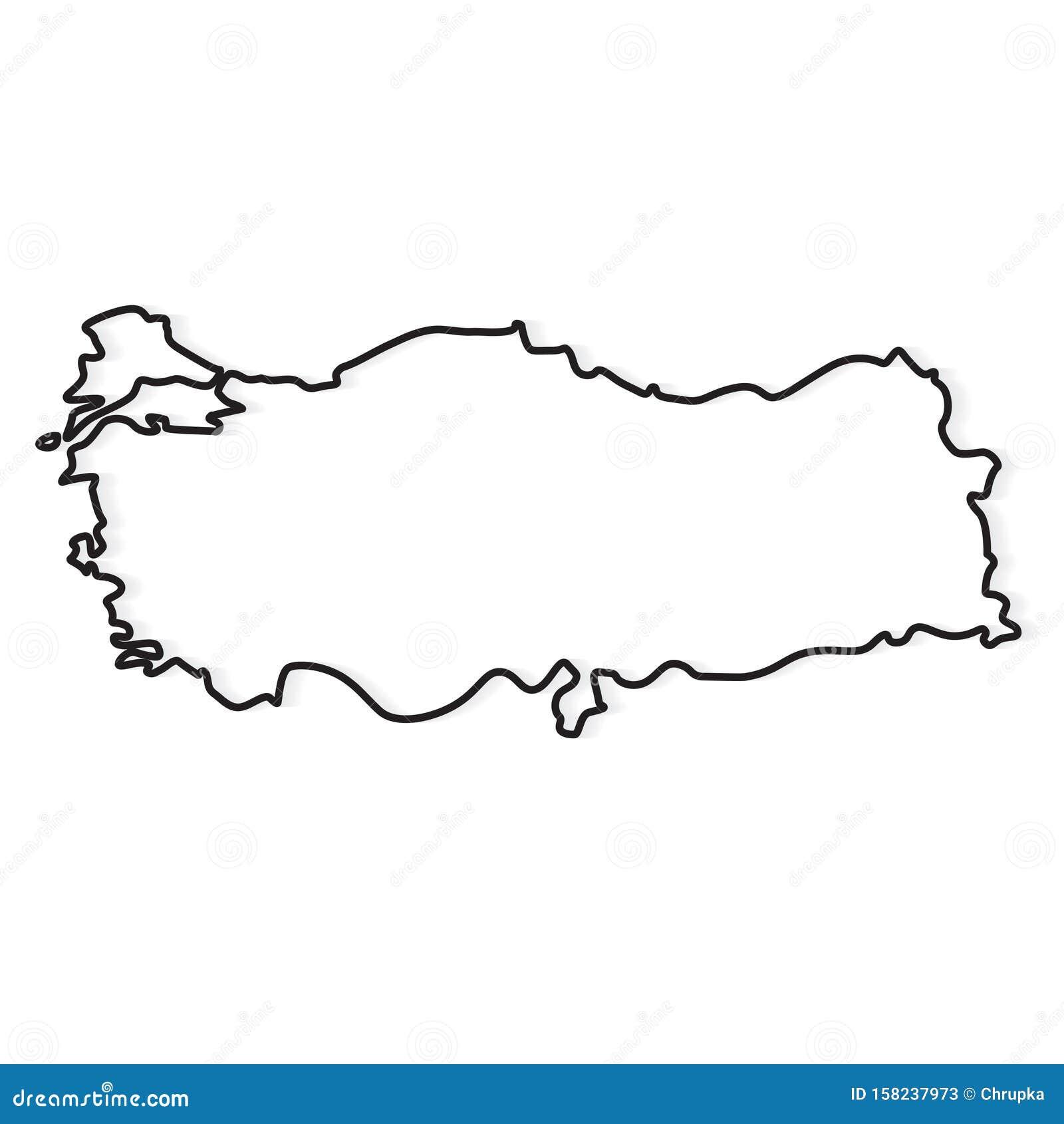 Black Outline Of Turkey Map Stock Vector - Illustration of ...