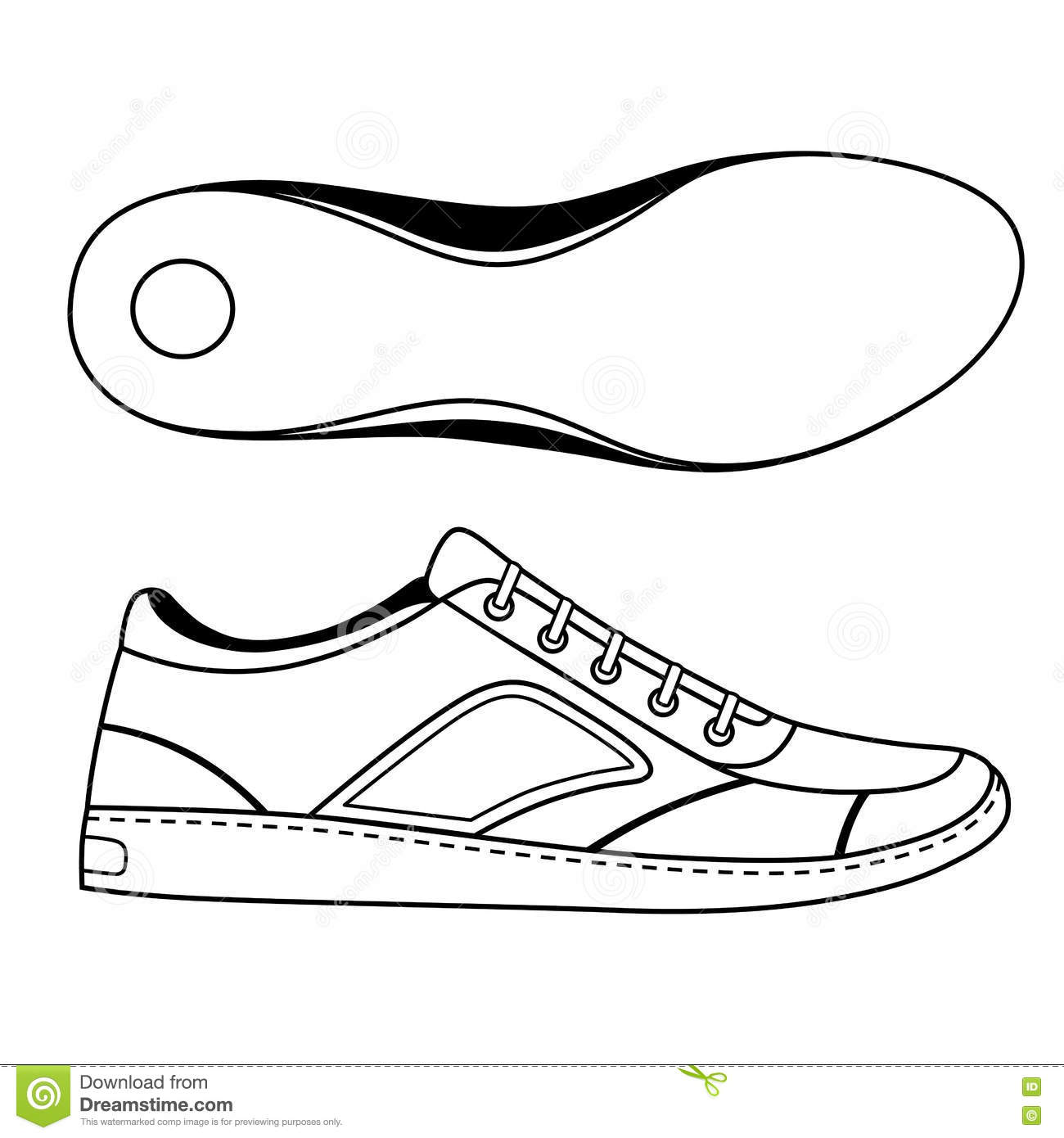 Black Outlined Sneakers Shoe Sole Stock Vector