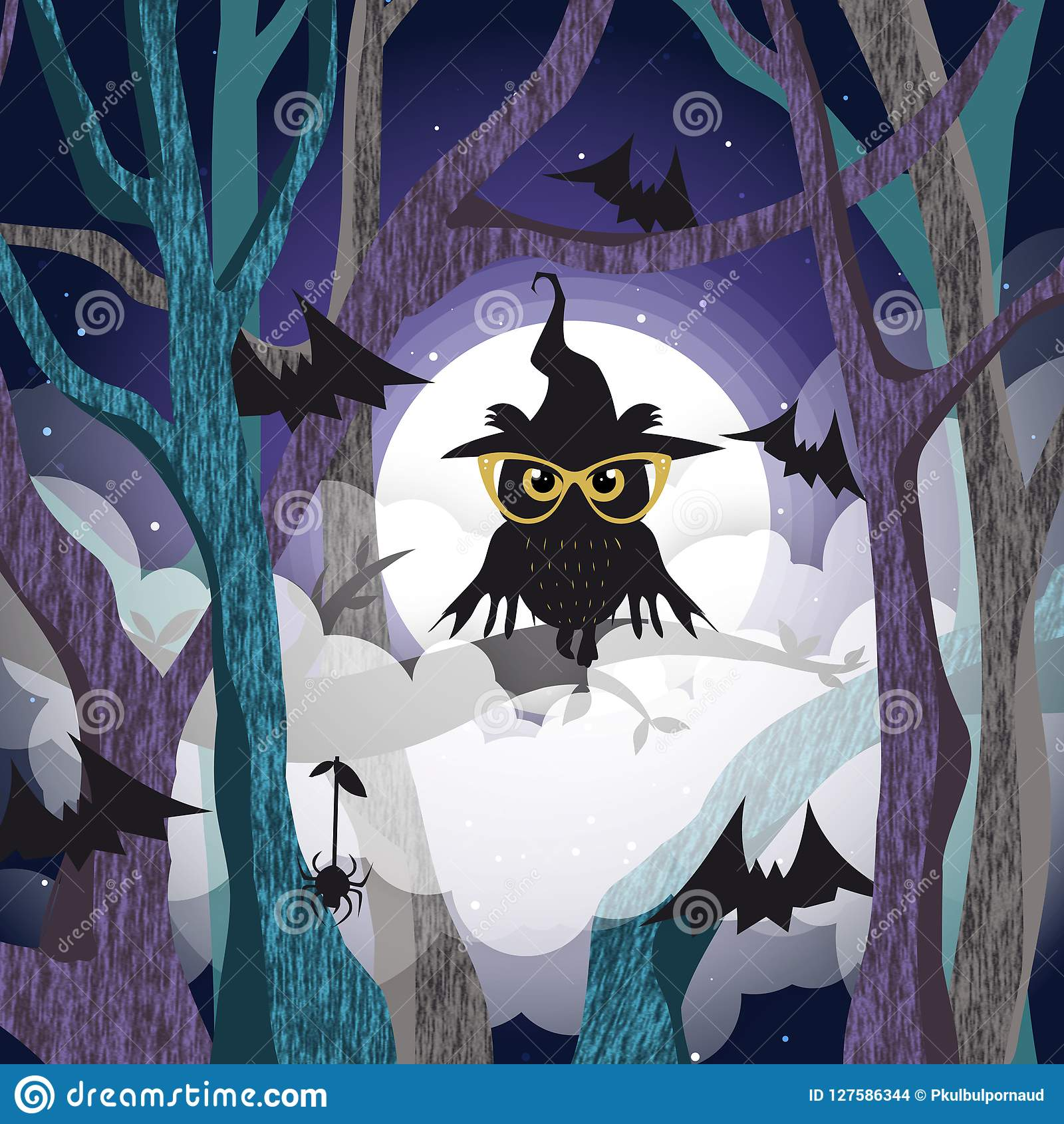 Black owl on the tree background of the full moon