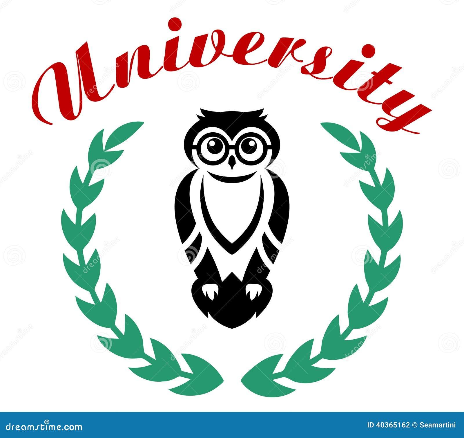 Black Owl In Wreath As University Symbol Stock Vector