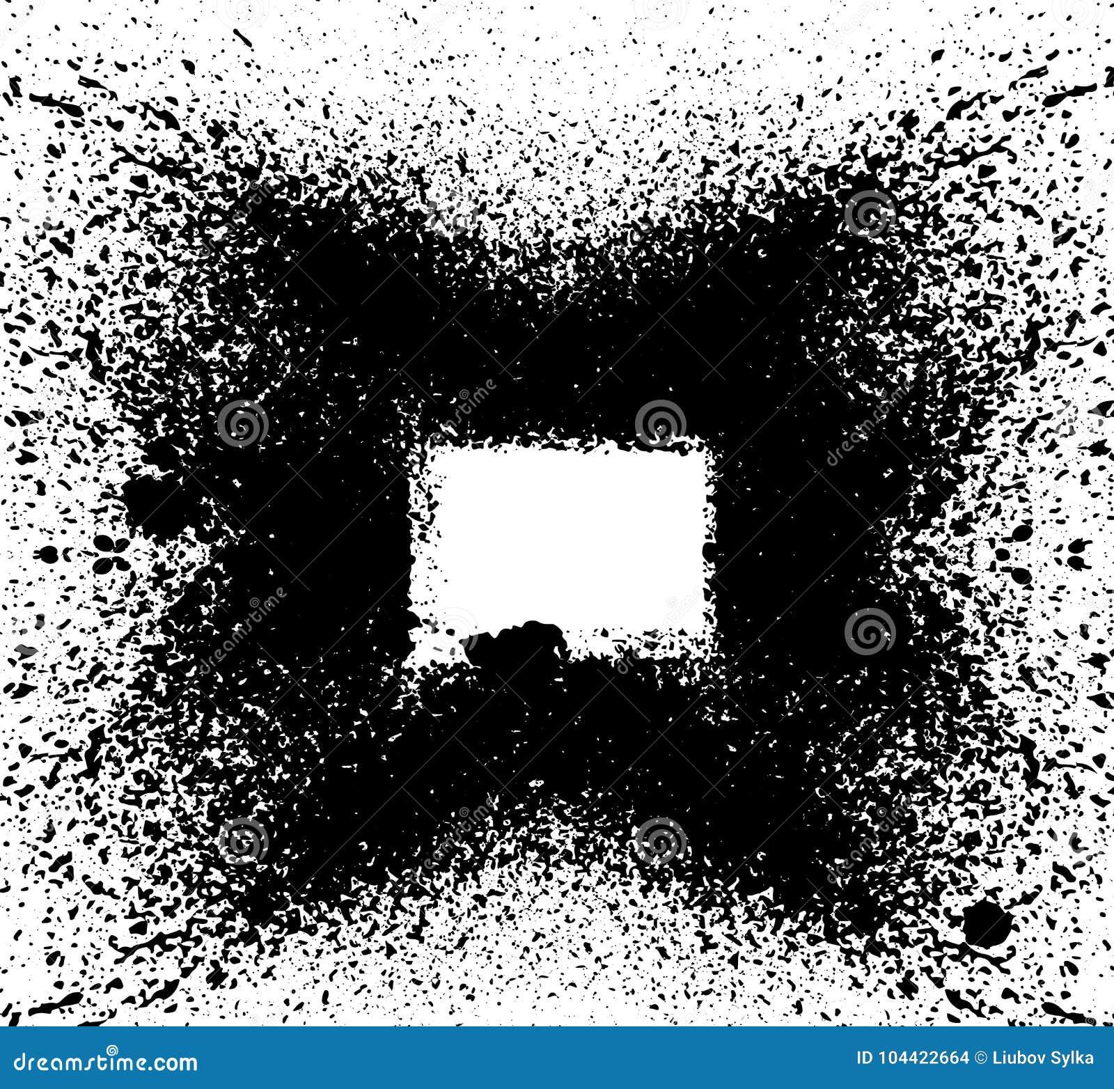 Black paint, ink splash, brushes ink droplets, blots. Dirty artistic design elements, boxes, frames. Grunge frame with space for y