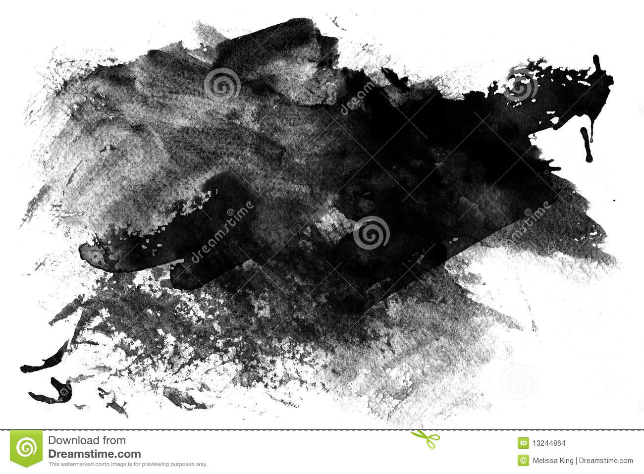 Black paint smeared on white
