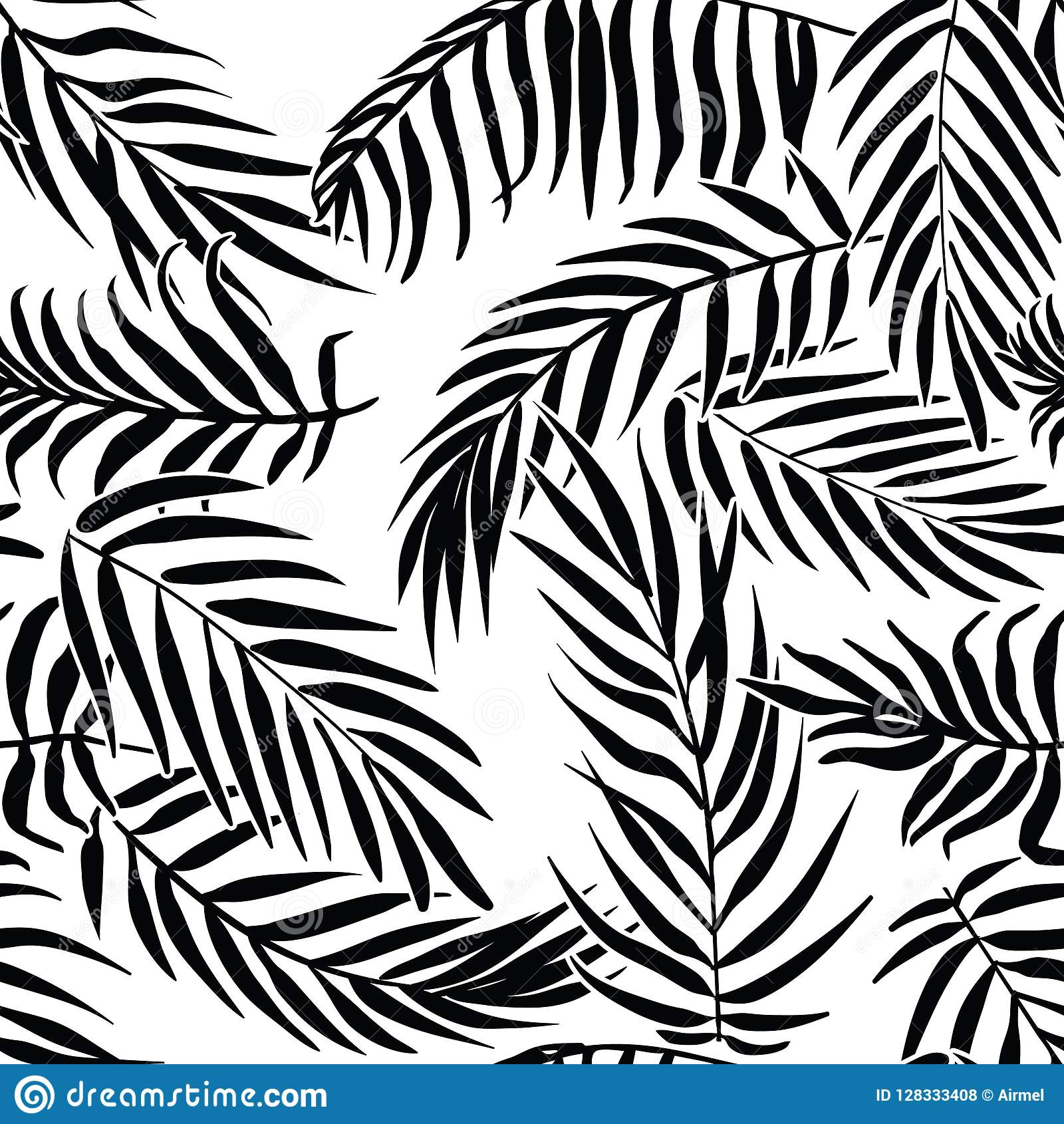 Black palm leaves on white background. Tropical silhouette seamless vector pattern.