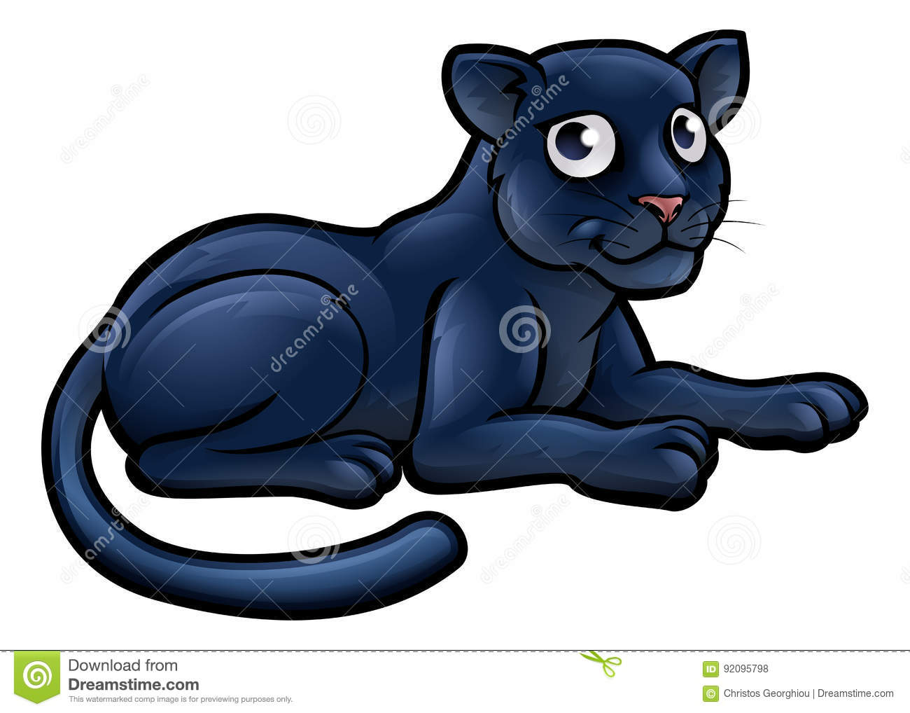 Black Panther Cartoon Character Stock Vector Illustration Of