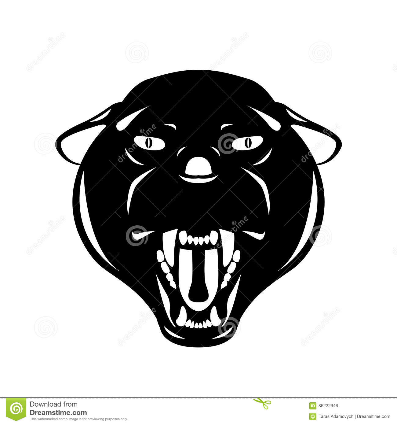 Black Panther Head Face , Vector Illustration Style Flat ...