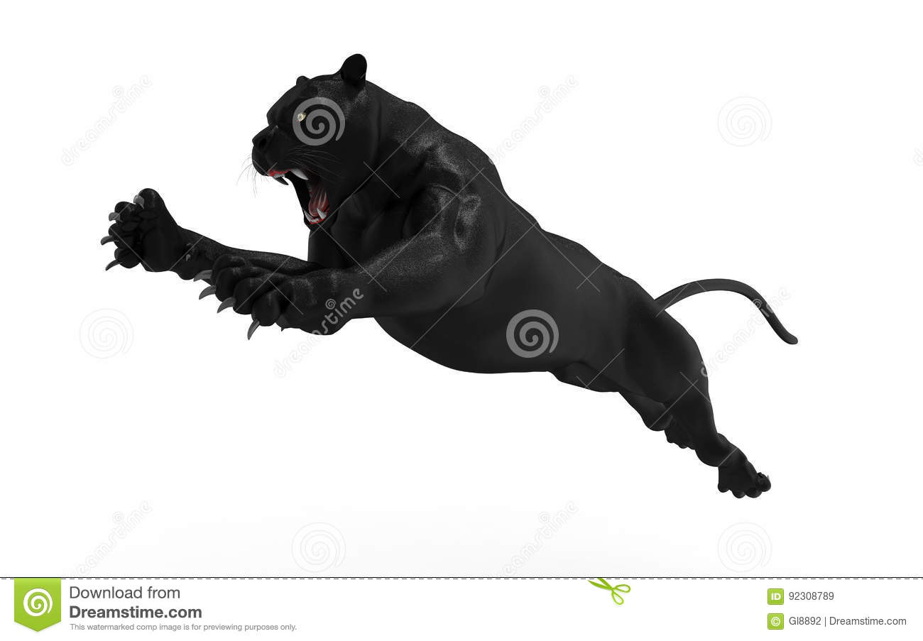 Panther Attacks Cartoon Vector | CartoonDealer.com #13328255