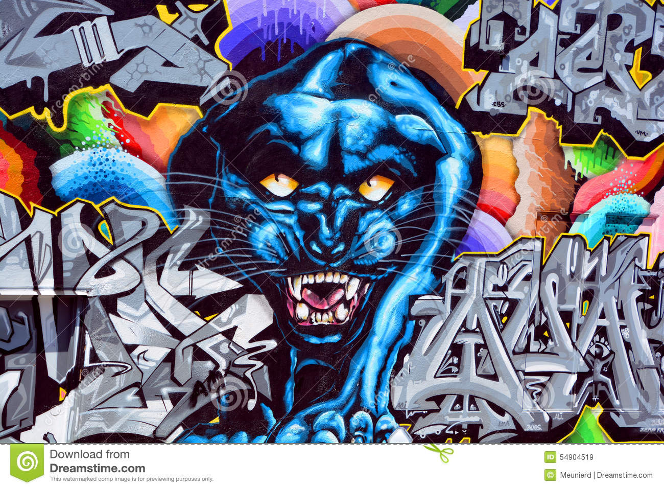 black panther mural editorial stock image image of