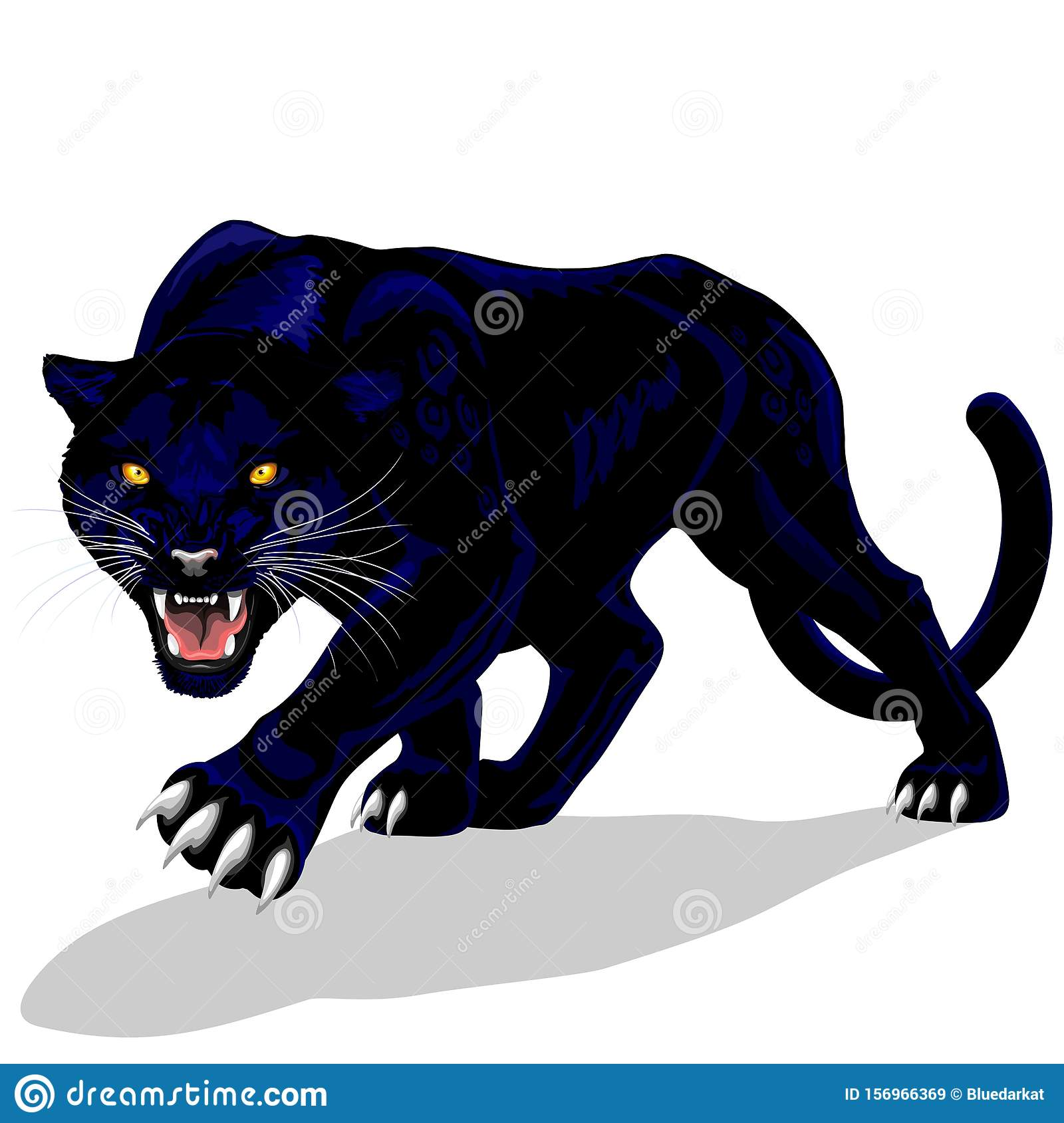 Black Panther Spirit Roaring Vector Illustration Isolated On White Stock Vector Illustration Of Blackcats Elegance 156966369