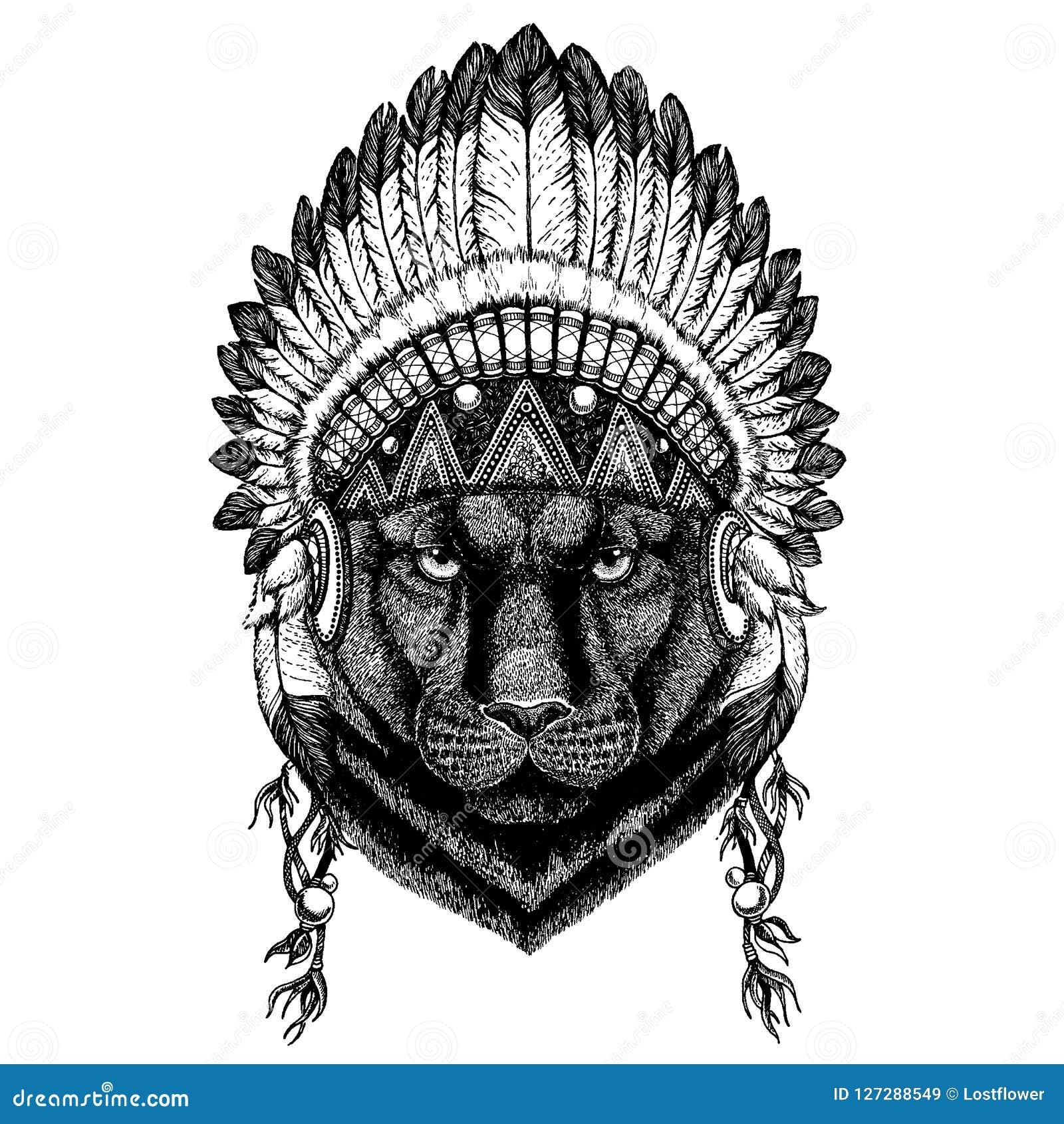 Black Panther Wild Animal Wearing Inidan Headdress With Feathers Boho Chic Style Illustration For Tattoo Emblem Stock Vector Illustration Of Children Jaguar 127288549