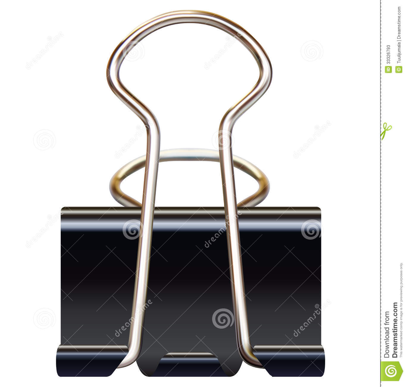 Black paper binder clip on white background realistic illustration.