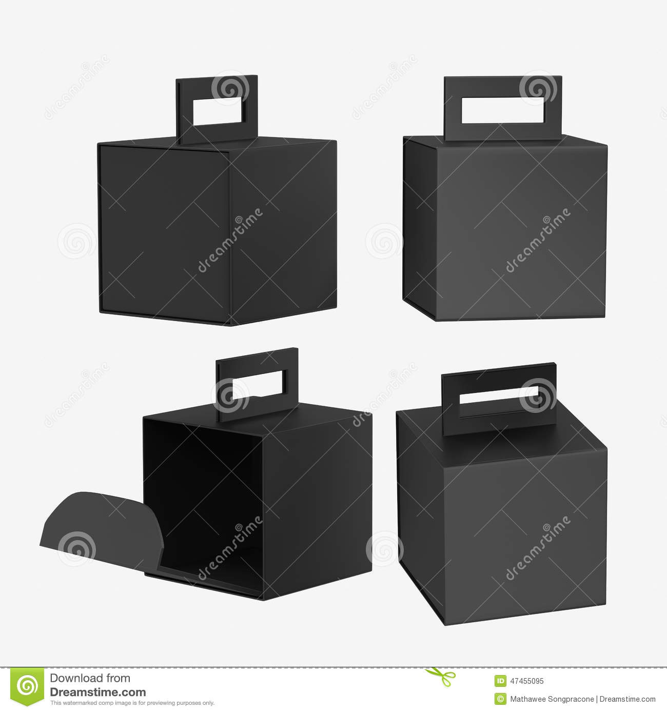 Black paper carton box with handle, clipping path included. Template ...